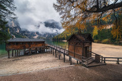 Boat station on the Braies Lake Stock Photo