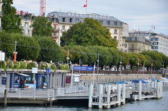 Boat station at Geneva Lake in downtown area Royalty Free Stock Photo