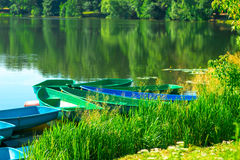 Boat station on the lake in the park Royalty Free Stock Photography