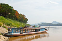 Boat station at Luang Prabang, Laos Royalty Free Stock Photos