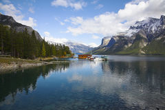 Boat station on picturesque lake Royalty Free Stock Image