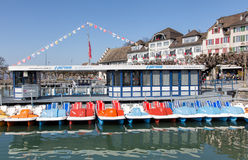 Boat station in Rapperswil Stock Photos