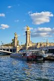 Boat Stationed In Front Of Alexander III Bridge In Paris France stock image