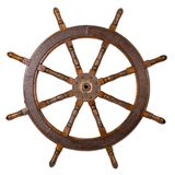 Boat steering wheel. Old boat steering wheel isolated on the white Stock Photo
