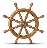Boat Steering Wheel. Boat and ship steering wheel as a nautical control symbol of direction and guidance by a boating captain or director on a yacht or ocean Stock Photography