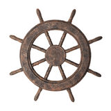 Boat steering wheel. Decorative fake antiqued boat steering wheel isolated on white Royalty Free Stock Image