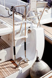 Boat stern and fender Royalty Free Stock Photo