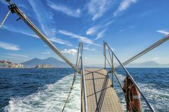Boat stern view on gulf of Naples Royalty Free Stock Photography
