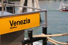 Boat stop in Venice Italy stock photos
