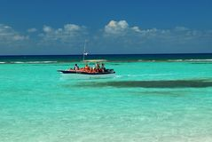 Boat stops, the Caribbean island of Saona the republic santo domingo Royalty Free Stock Images