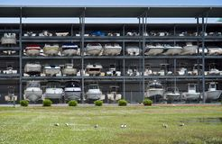 Boat storage facility. Long-term Boat storage facility stock photos
