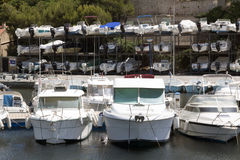 Boat storage in the harbour of nice france Royalty Free Stock Images
