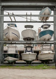 Boat Storage in a Marina. Boats are stored for winter near a marina stock images