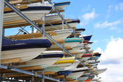 Boat Storage. A multi-levelled boat storage rack Royalty Free Stock Photos