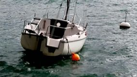 Boat by stormy weather stock footage