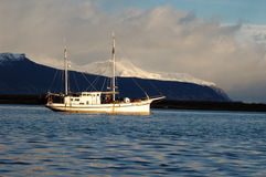 Boat in The Strait of Magellan Stock Photography
