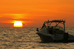 Boat and Sun Royalty Free Stock Photography