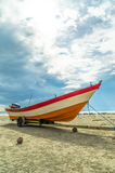 Boat with Sun Light Vertical Royalty Free Stock Image