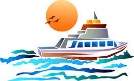 Boat with sun. Line art silhouette motor boat clip art image Stock Photo