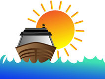 Boat with sun. A small boat with sun Stock Images