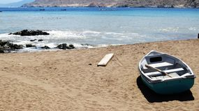 Boat sunbathing on the beach. Of pan de azucar, atacama region, Chile Royalty Free Stock Photo