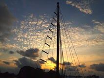 Boat sunet ha long bay Stock Photo