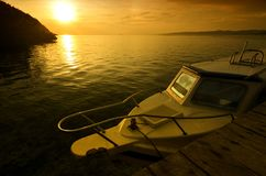 A boat on sunset Royalty Free Stock Images
