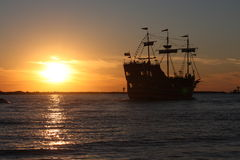 Boat with sunset Stock Photography