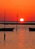 Boat and sunset. Foz do Arelho - Portugal Royalty Free Stock Photo