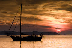 Boat and The Sunset Stock Image