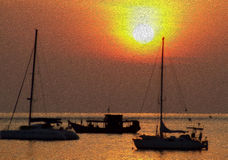 Boat and sunset abstract background oil paint style Stock Photos