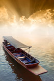 Boat and sunset. Boat against a beautiful sunset Stock Photo