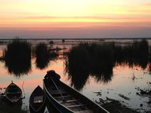 Boat in the sunset Royalty Free Stock Photos