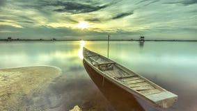 Boat sunset Stock Image