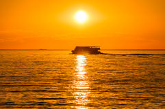 Boat In The Sunset Royalty Free Stock Photo