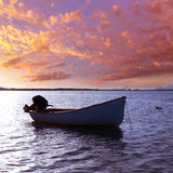 Boat sunset  Estany des Peix in Formentera Balearic Island Stock Image