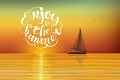 Boat at sunset. On the horizon. Enjoy the summer lettering. Orange-yellow background on the summer theme. Horizontal orientation vector Illustration vector illustration