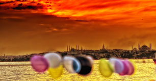 Boat and Sunset in İstanbul Stock Photo