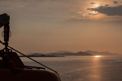 Boat at Sunset in Kos Greece Royalty Free Stock Photo