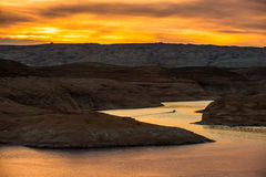 Boat at Sunset Lake Powell Royalty Free Stock Photography