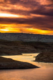 Boat at Sunset Lake Powell Stock Photography