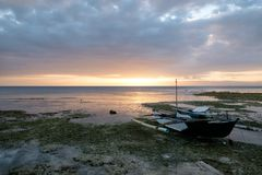 Boat and sunset. Sunset landscape with boats in Bohol, Philippines Royalty Free Stock Photography