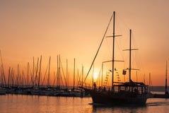 Boat sunset. Passenger boat on sunset lake Royalty Free Stock Photos