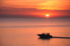 Boat and sunset at Samed island. The sunset and boat at Sa-mad island Royalty Free Stock Photography