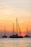 Boat sunset. Silhouette of sail boat on sea at sunset ,phuket,thailand Royalty Free Stock Images