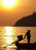Boat and sunset in Thailand Royalty Free Stock Image