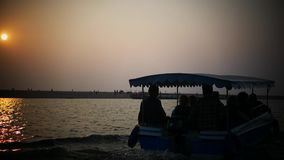 Boat sunset time backwater in India stock video footage