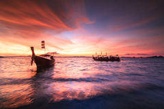 Boat in sunset. Times at Krabi. Thailand Royalty Free Stock Photo