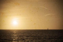 Boat at sunset in vintage tone Royalty Free Stock Photos