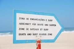 Boat and Surf. Information sign about boat/surf zones Stock Photo